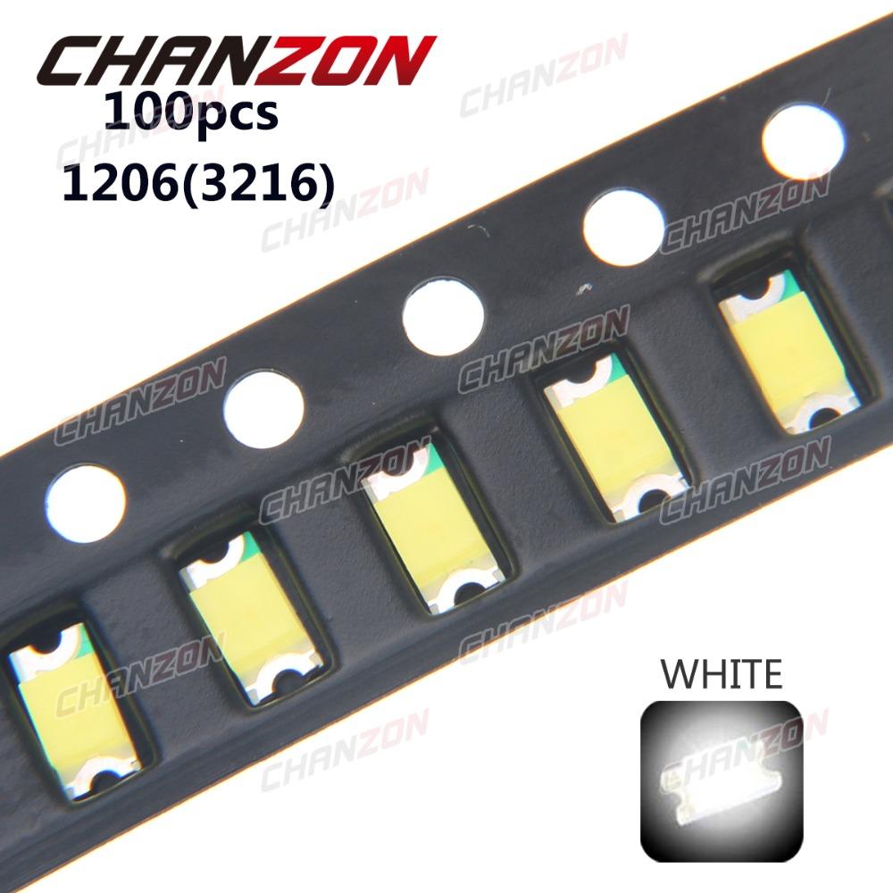 100pcs SMD 1206 (3216) White Ultra Bright 20mA 3V LED Chip Light Emitting Diode Lamp Surface Mount SMT Bead Technology fpr PCB(China (Mainland))