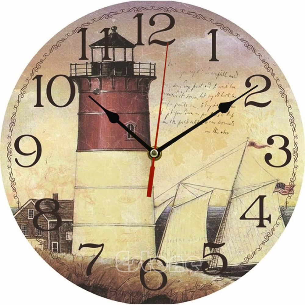 vintage wooden wall clock large shabby chic rustic kitchen home antique style higher quality in
