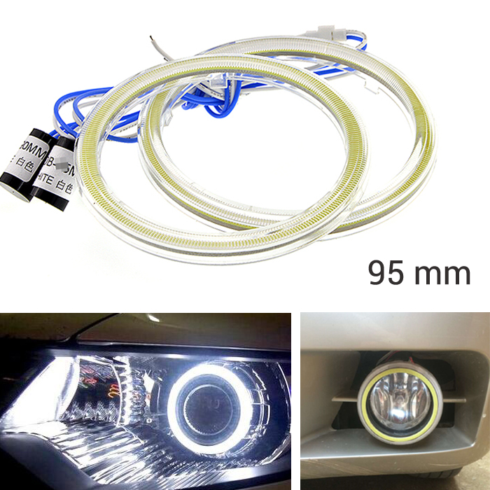 2X COB 95mm Auto Headlight Halo Rings Angel Eye COB Chips 60 SMD Car Fog light Angel Eyes Motorcycle With Lampshades Bright(China (Mainland))