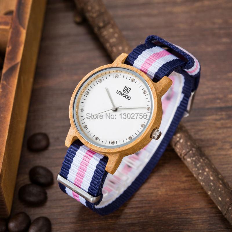 Uwood 100% Pure Natural Nylon Band Черный Сандалового Дерева Кварцевые Часы Оригинальный Аналоговый Деревянные Часы Для Женщин Наручные Часы Подарок