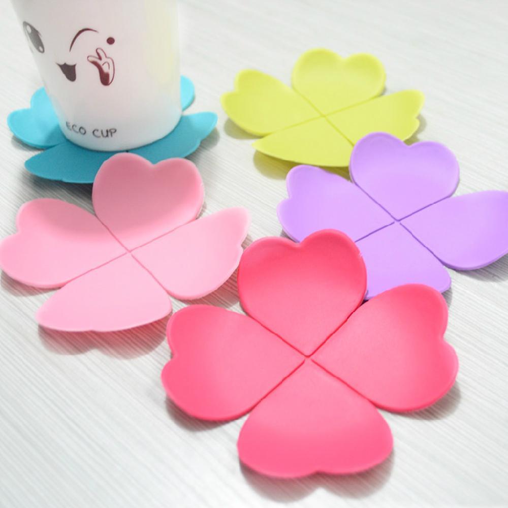 6 Pieces/Set 3D Flower Petal Shape Drink Coaster Tea ...