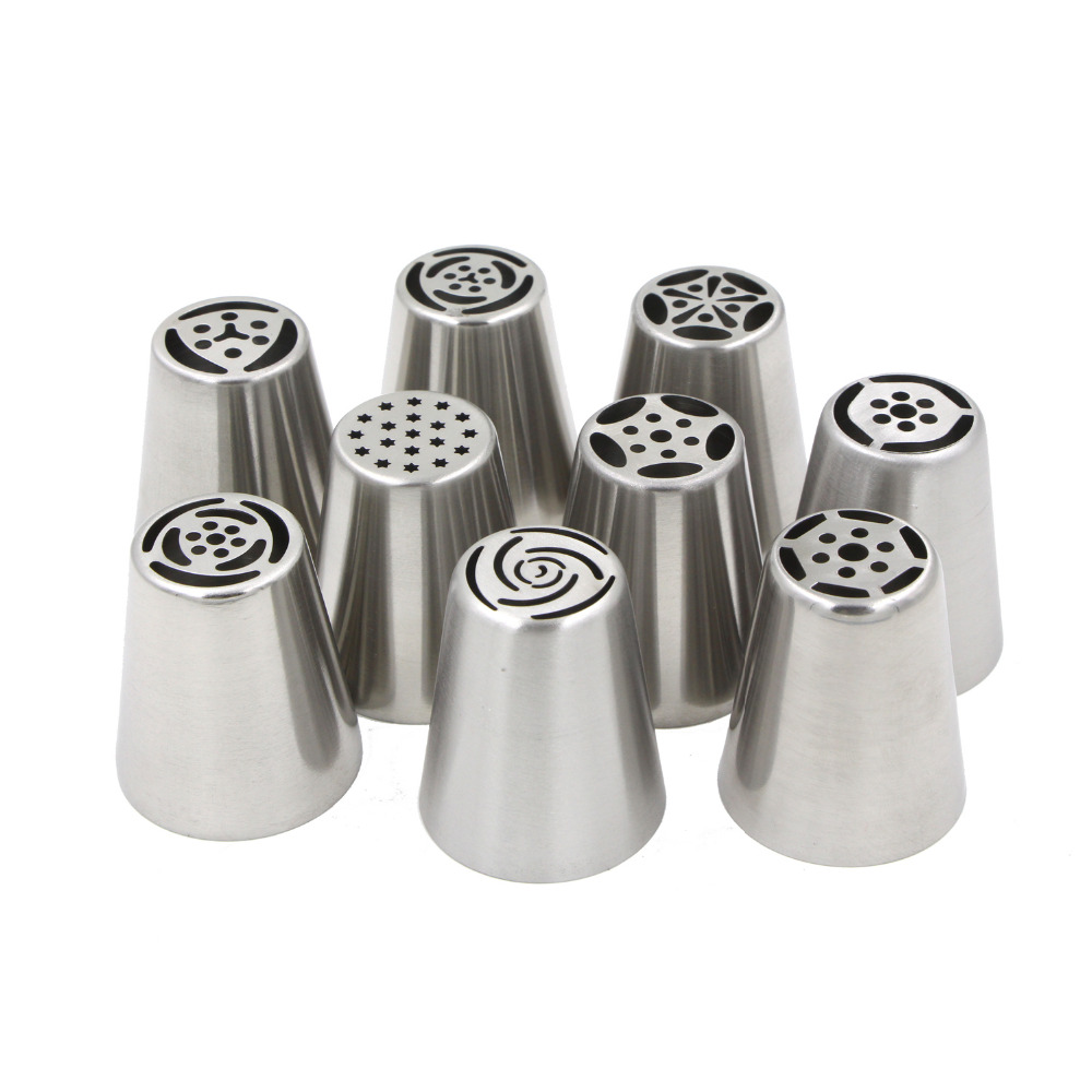 Cake Decorating Icing Tubes : Aliexpress.com : Buy 9PCS Stainless Steel Russian Icing ...