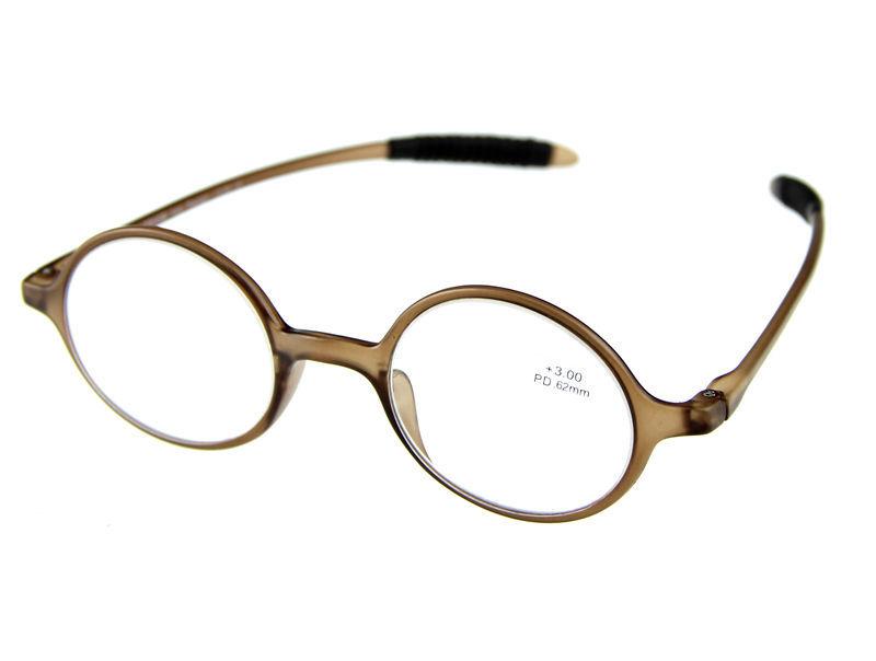 new Round Retro Reading Glasses Bronw TR-90 Frame +1.0 +1.5 +2.0 +2.5 +3.0 +3.5 small round reading glasses(China (Mainland))