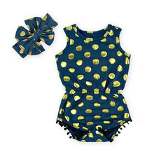 Gold Dot Pompom Jumpsuit Ruffled Flower Baby Rompers Girl Baby Costumes Set Kids Jumpsuit Cotton Chevron Romper with headband