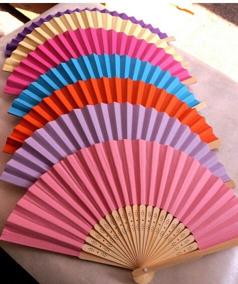Chinese Hand Paper Fans Pocket Folding Bamboo Fan Wedding Party Favor(China (Mainland))