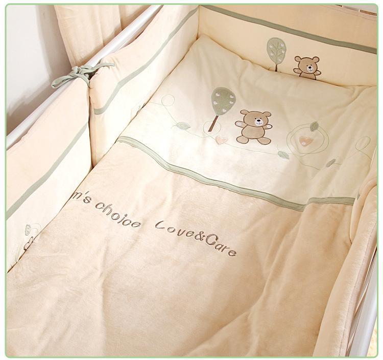 7Pcs Cotton Brand Baby Crib Bedding Set for Girls Boys Cartoon Deer Newborn Baby Bed Linen Cot Quilt Bumpers Sheet Pillow 4 Size(China (Mainland))