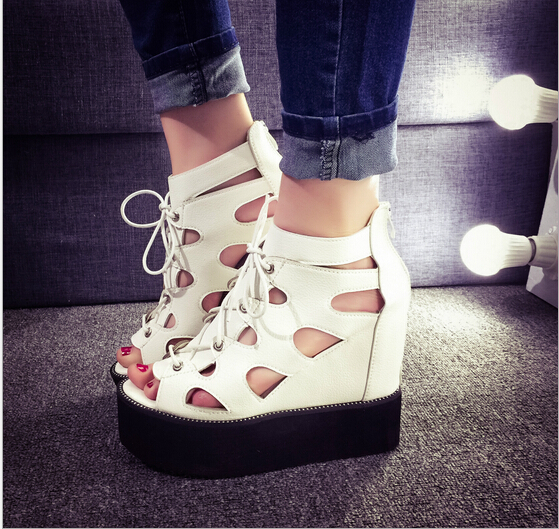 Increased women sandals 2015 new high heeled lace thick crust within the Roman shoes hollow hole