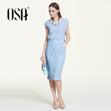 OSA Spring 2016 slim casual off the shoulder design office dresses women new arrivals Vintage O-neck blue vestidos S116A13029(China (Mainland))