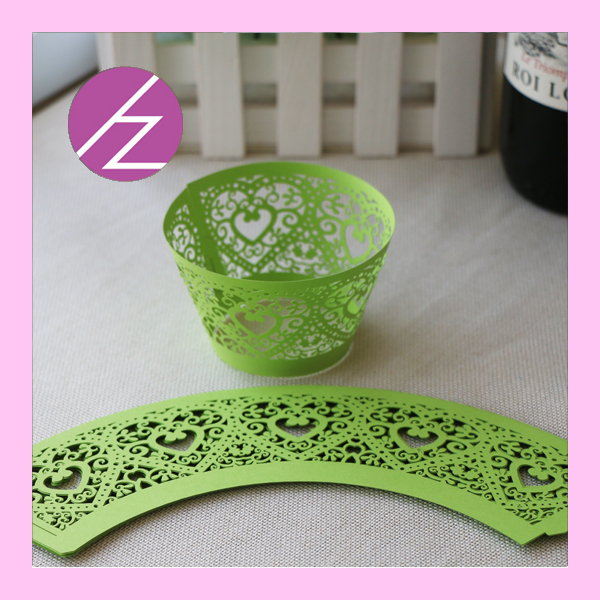 DG39, fast shipping free design heart laser cut cupcake wrappers for wedding supply(China (Mainland))