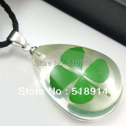 Real 4 Four Leaf Lucky Clover Necklace Shamrock Pendant Drop Heart Shape Resin Jewelry Girl Lady Gift Boy Present(China (Mainland))