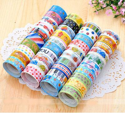 Wholesale New Pretty kawaii Cute Cartoon DIY Adhesive Tape Sticky Washi Scrapbooking Sticker(China (Mainland))