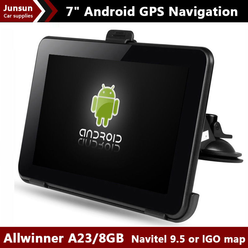 New 7 Inch Car GPS Navigation Android 4.4.2 Allwinner A23 WIFI/FM tablet pc Truck vehicle gps Navitel 9.5 or full Europe map 8GB(China (Mainland))