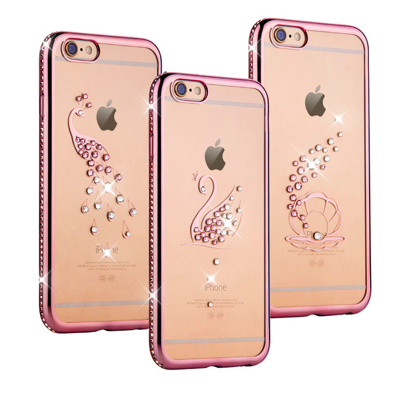 Rose Gold Plating Bling Diamond Cute Peacock Shell Swan Phone Case For Iphone 6 6s 6 Plus 5.5 inch Crystal Clear TPU Soft Covers(China (Mainland))