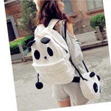 2pc Cute Women girl fashion Style cartoon Panda big small Schoolbag Backpack Shoulder Book Bag Set(China (Mainland))