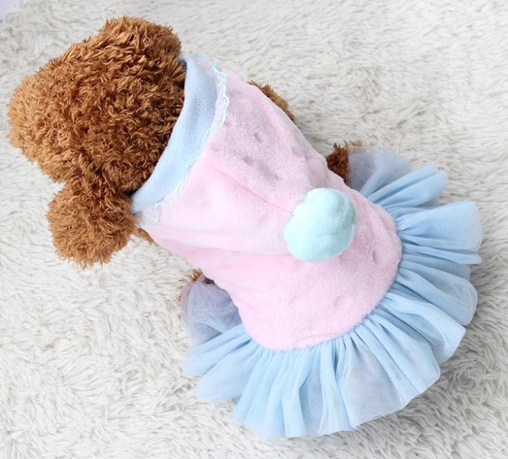 Dog clothes fall and winter clothes to keep warm thick plush print dress princess skirt skirt direct public lollipop(China (Mainland))