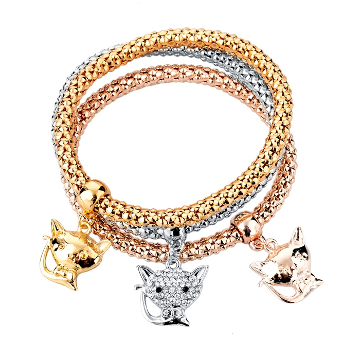 Fashion Summer Fox Jewelry Austrian Crystal Chain Bracelet Gold/Silver Plated Bracelets & Bangles For Girls Pulseiras SBR150188(China (Mainland))