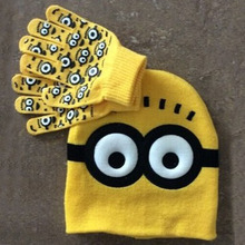 2pcs/set Hot Sale Children's Winter Cartoon Minions Glove Hat Sets Fashion Kids Baby Warm Knitted Caps Gloves(China (Mainland))