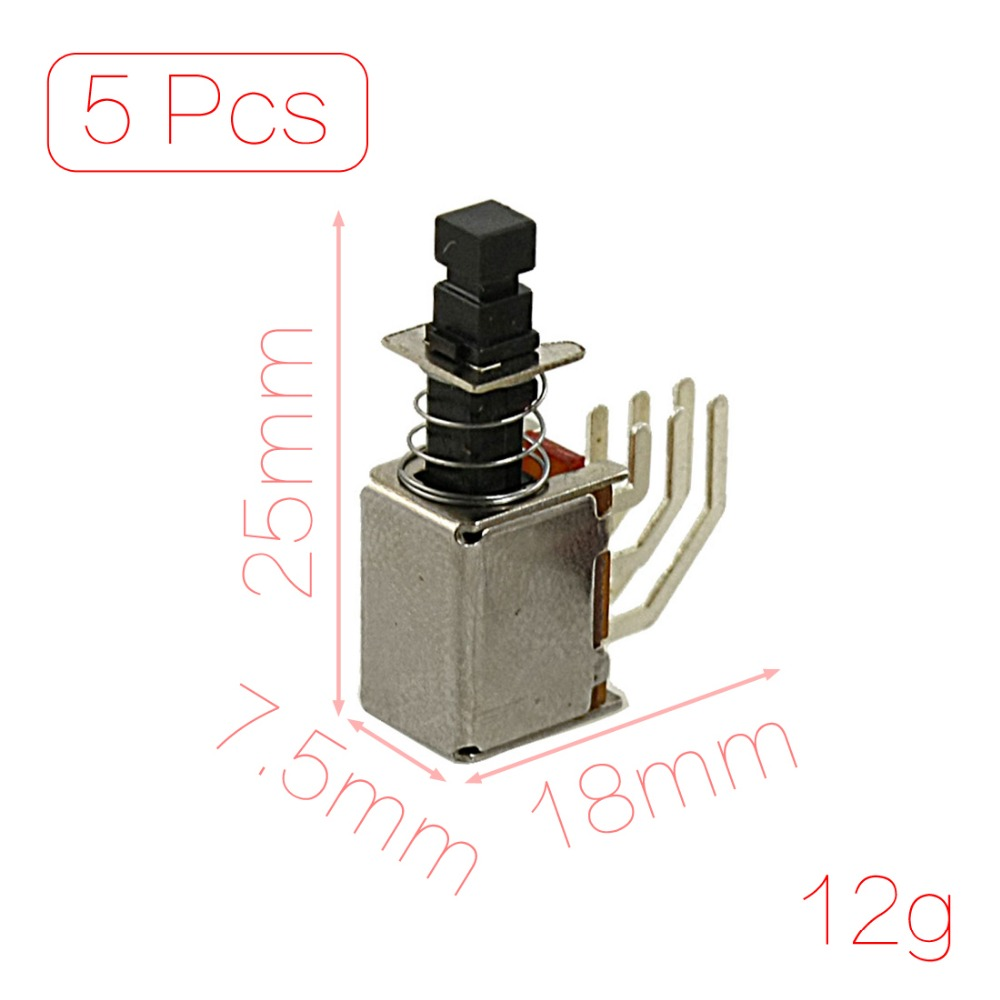 5 Pcs x 6 Pin 2P2T DPDT Momentary PCB Push Button Switch Non Lock 2 NO 2 NC