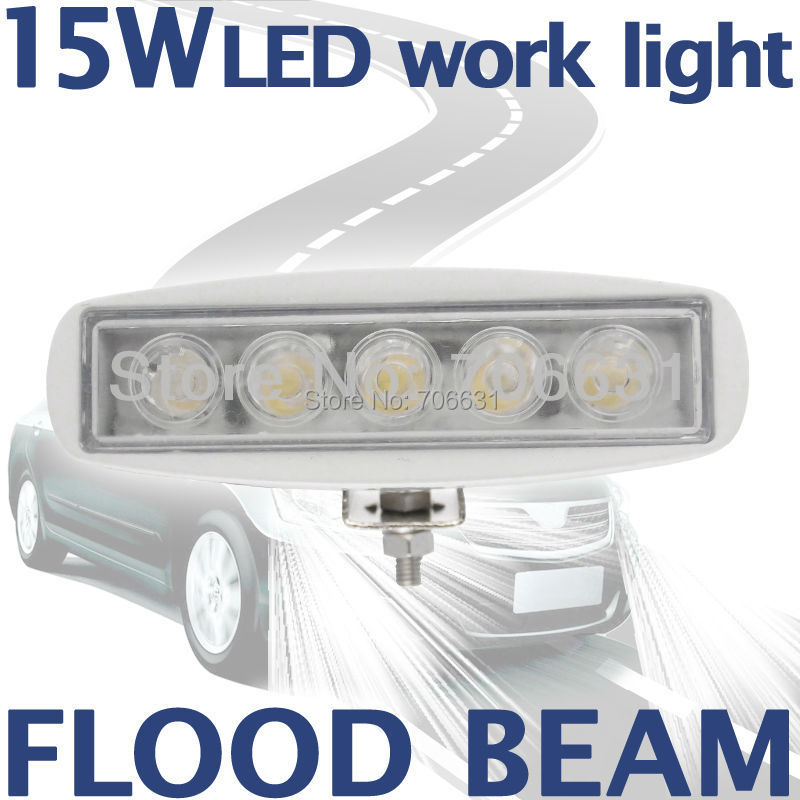 1pcs 15W White LED Off road Slim Work Light Flood beam Lamp 12V/24V for car Truck 4WD 4X4(China (Mainland))