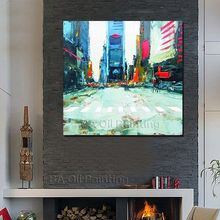 Buy Free Hand-painted Abstract City Street Art Decoration Oil Painting Canvas Pictures Living Room Framed for $11.83 in AliExpress store
