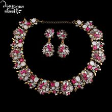 Dvacaman יוקרה Femme Bijoux קריסטל פרח הודי חתונה כלה תכשיטי סטי נשים הצהרת שרשרת & עגילי אביזרי A31(China)