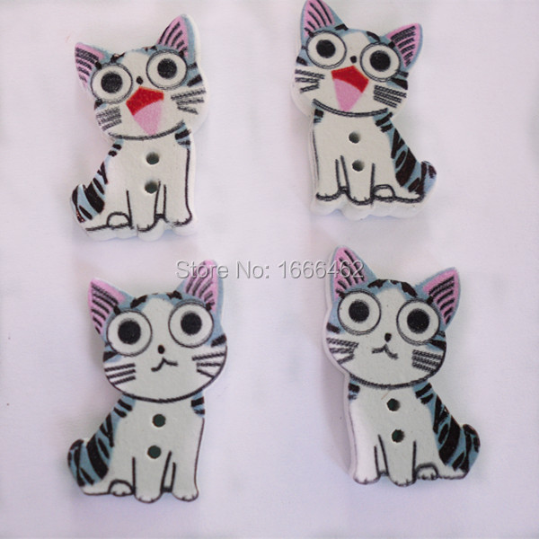 50pcs Mixed 2 Holes Cat Wooden Buttons Sewing and Scrapbook 26mm*16mm Scrapbooking Sewing Accessories(China (Mainland))