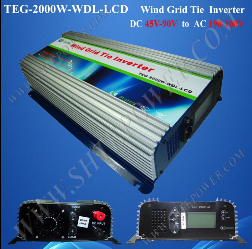Build In High Wind Protection DC Input 48v 72v 2000w wind grid tie inverter(China (Mainland))