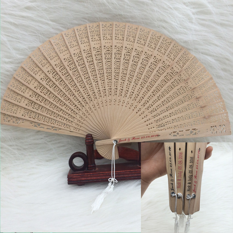 Back Gift 50pcs/lot Free Shipping Personalized Wedding Favors and Gifts Sandalwood Fan Wedding Hand Fans wedding fans +printing(China (Mainland))