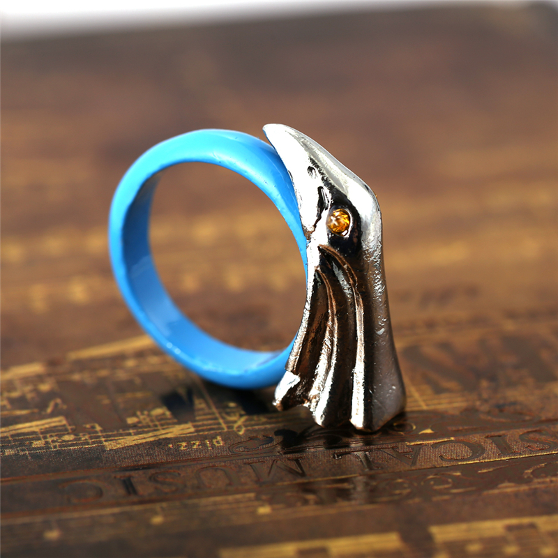JM Dropshipping Retro Dota2 Cosplay Jewelry Treatment Eagle Shape Rings Blue Dota 2 Zinc Alloy Ring Accessories for Fans(China (Mainland))