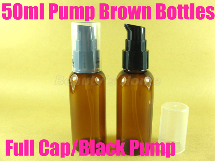50ml pump Cap Brown bottle comestic make container small/empty bottles #2052 - Packing Supplier(Bottles and Jars store)