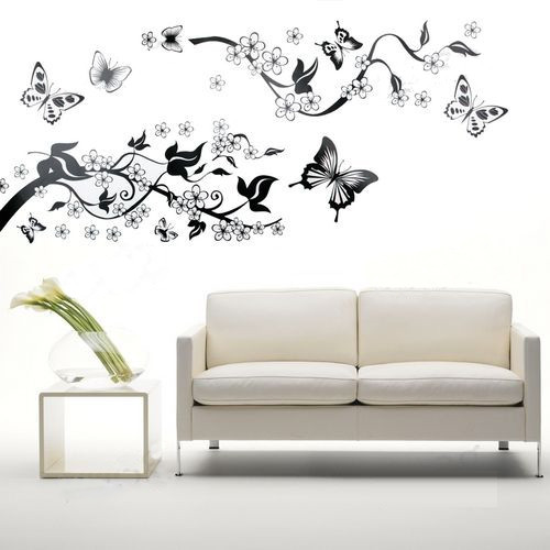 Bedroom living room decoration butterfly flowers tree wall stickers wall decal family home Home decor line wall stickers