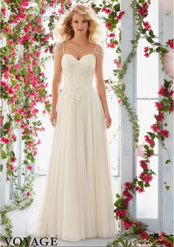 Модные милая линии аппликации из бисера свадебное платье спагетти ремень белый слоновой кости длинные свадебные платья