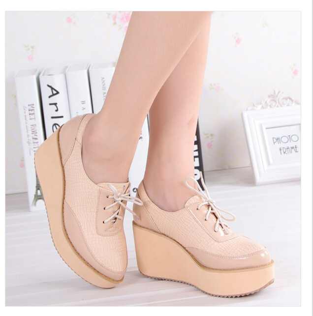 Spring Autumn Vogue PU Mixed Colors Closed Toe Shoes Woman, Casual Lace-Up Wedges Women Shoes, Black,Beige,Size:35-40, - YOYO Store 512371 store