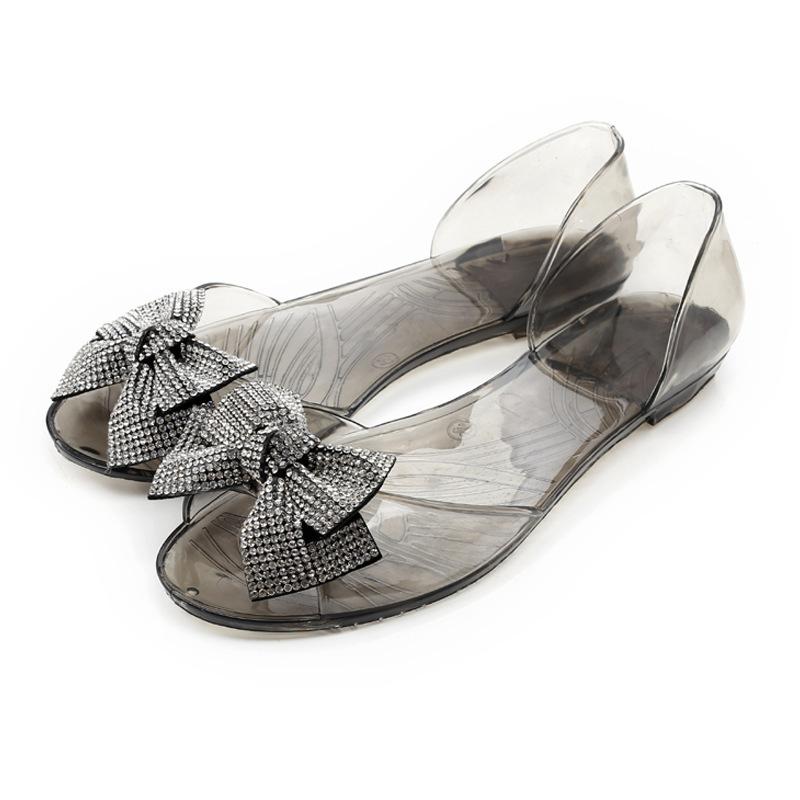 Transparent crystal sandals fish head shoes flat sandals for Fish head shoes