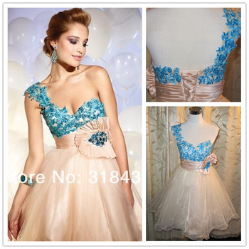 Free Shipping Bns-7067 Elegant One Shoulder Floral Strap Ruched Short Prom Cocktail Dress Party Dress Custom-made