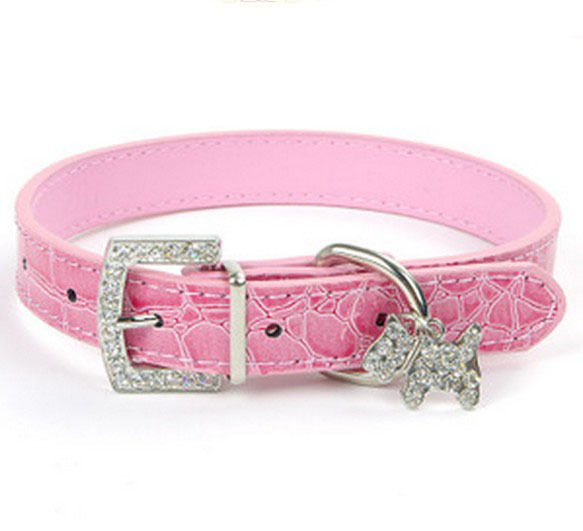 2pcs/lot Gator Pu Leather Small Dog Collars Puppy Collars Perro with Rhinestone Buckle and Heart charm D13(China (Mainland))