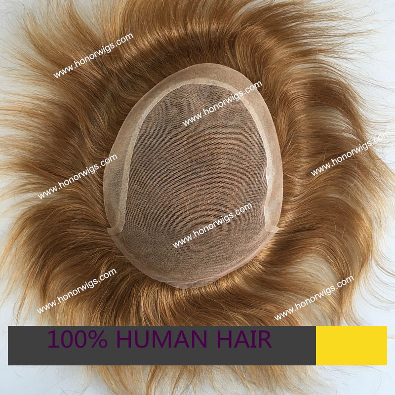 custom men's toupee light brown color 6x8 or 7x9inch color can choose 130% hair density 6inches swiss lace in front with thin PU