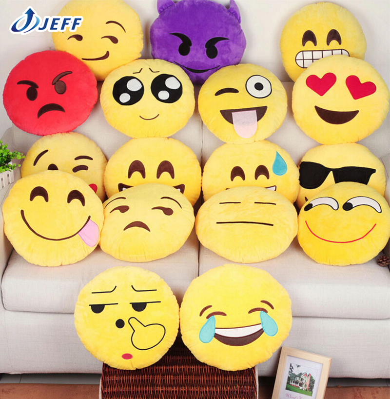 New 7 Styles Soft Emoji Smiley Emoticon Yellow Round Cushion Pillow Stuffed Plush Toy Doll Christmas Present Pendant Lovely Toys(China (Mainland))