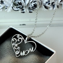 New Design Fashion Luxury Retro Moon Heart Pendant Necklace Mom Family letter chain necklace jewelry women 2015