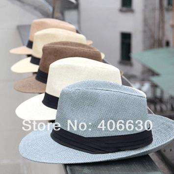 Summer Mens Large Wide Brim Fedora Hat Chapeu Masculino Panama Jazz Sun Beach Hats, 8pcs/lot, Free Shipping(China (Mainland))