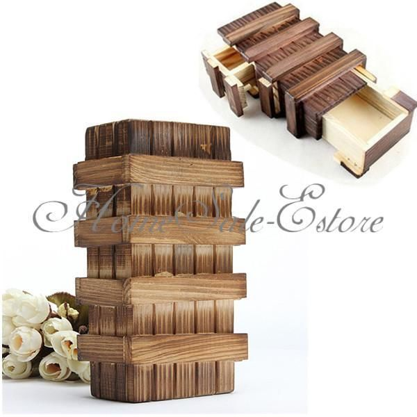 Kid Funny Vintage Wooden Magic Box Secret Puzzle Drawer Size L Brain Teaser Toy 88089(China (Mainland))