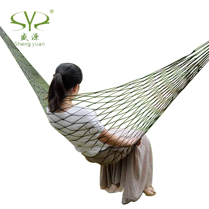 2014 Free Shipping Army Green Nylon Parachute Outdoor Portable Double Camping Hammock(China (Mainland))