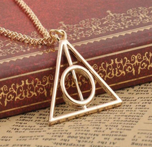 Buy Deathly Hallows Charms Pendant Necklaces Movie Trendy Triangle Long Chain Necklace 3 Color N26 for $1.79 in AliExpress store
