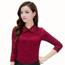 S-3XL Winter Women Thick Velvet Lace T-Shirt Long Sleeve Plus Size Warm Beaded Elegant Base Shirt Tops