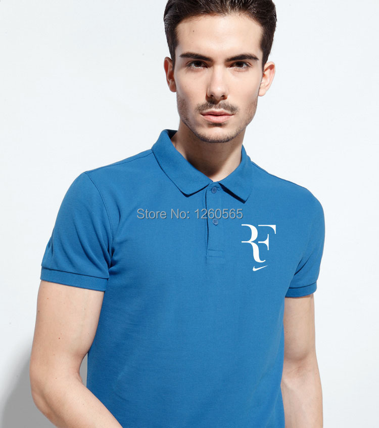New Men Roger Federer RF Tennis Polo Shirt Summer Turn-down Collar Short Sleeve Male Sports Clothing(China (Mainland))