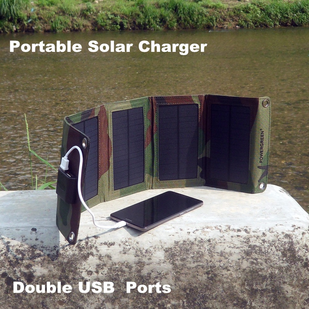 Solar Battery Pack Bank PowerGreen Foldable Solar Panel Charger 21 Watts HIGHWAY Portable Solar Power Bank for All Phone