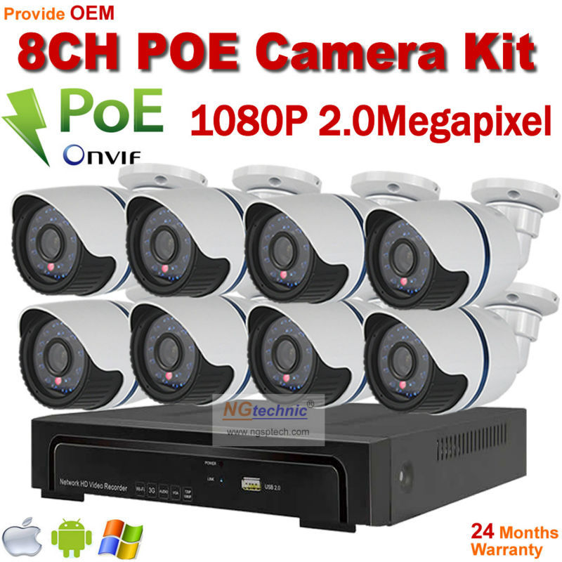 Free shipping 8CH Onvif Full HD 48V Real PoE 80-100m NVR Kits With 1080P IP Cameras  P2P Cloud Service<br><br>Aliexpress
