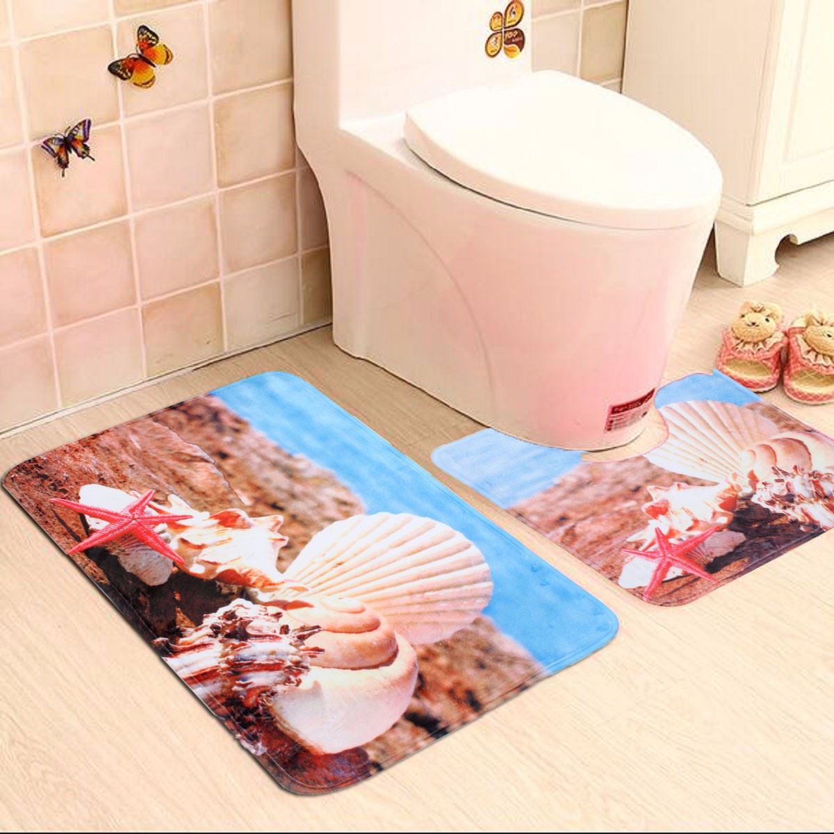 2Pcs Anti-Slip Beach Sand Shells Prints Pad Resistance Water Absorption Carpet Mats Bathroom Fabrics Toilet Mat Home(China (Mainland))
