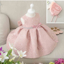 Latest set of one year old baby girl baptism dress princess wedding vestidos tutu 2016 baby girl christening gown with hat(China (Mainland))