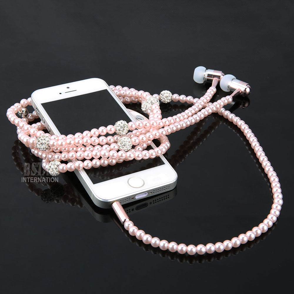 Luxury Bling Diamond earphone Pearl Necklace Chain In-Ear Earphone Stereo With Mic For iphone 6 6s samsung Microphone